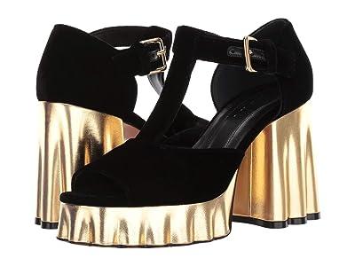 MARNI Velvet Wedge Heeled Sandal (Black) Women