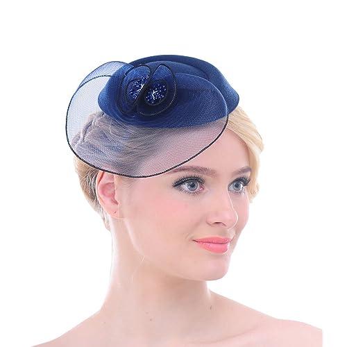 Women Mesh Net Flower Pillbox Hair Clip Fascinator Hat for Wedding Cocktail  Derby 3072f6ce1fb9