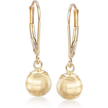 Ross-Simons 8mm 14kt Yellow Gold Shiny Bead Drop Earrings For Women
