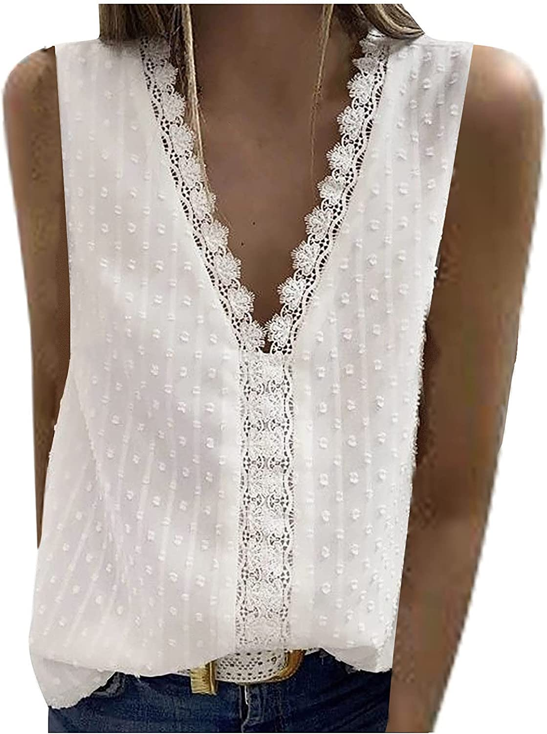 Summer Women V Neck T-Shirts Fashion Casual Sexy Tank Lace All items in the store Sale price Tops
