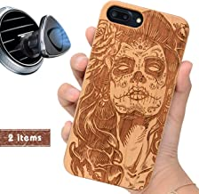 iProductsUS Wood Phone Case Compatible with iPhone 8Plus, 7Plus, 6Plus, 6s Plus and Magnetic Mount, Engraved Skull Girl (Day of The Dead), Built-in Metal Plate, TPU Shockproof Cover (5.5 inch)
