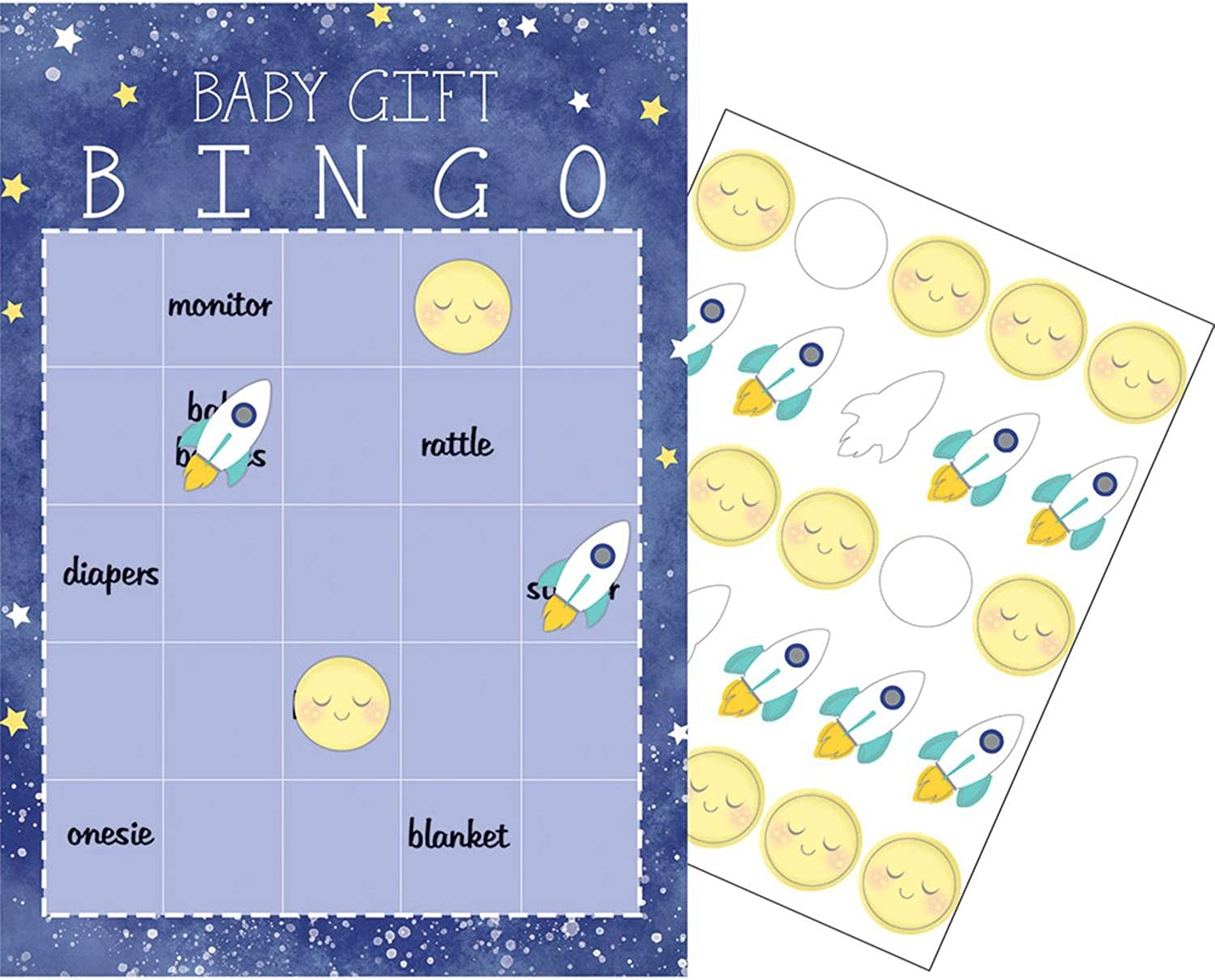 Party Central Club Pack of 60 bluee and White Checkered Baby Gift Bingo Game 10