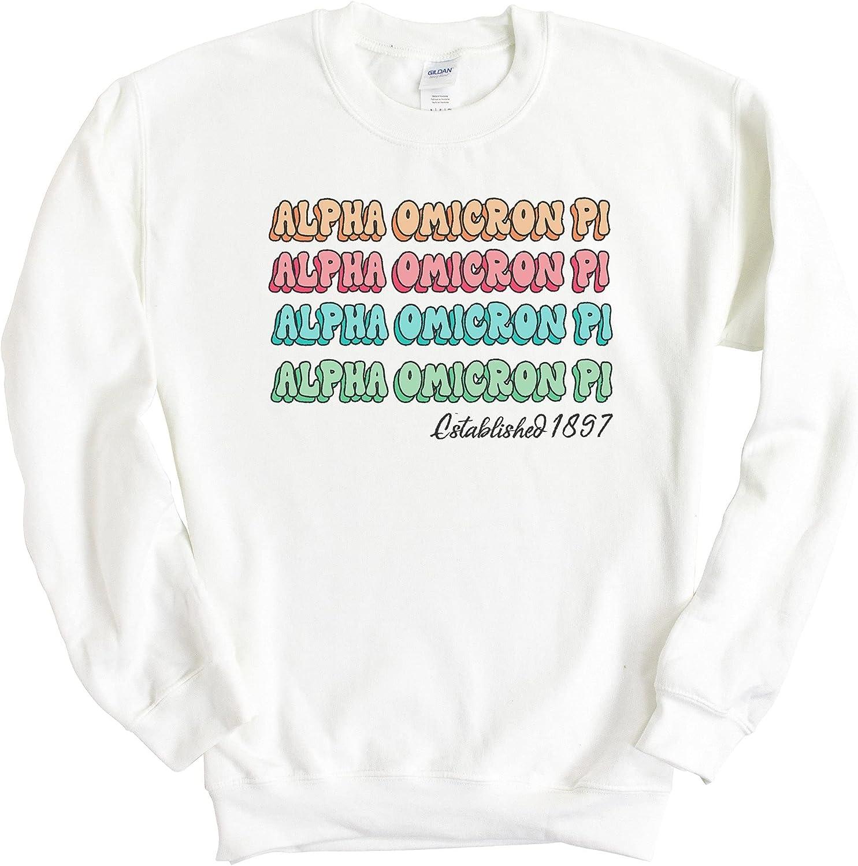 Alpha Omicron Pi Sweatshirt - AOPI Stencil Crewneck Sweatshirt- Sorority Big Little Gift Idea
