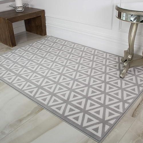 Milan Graphite Grey Dark Geometric Modern Traditional Living Room Rug 120cm x 170cm