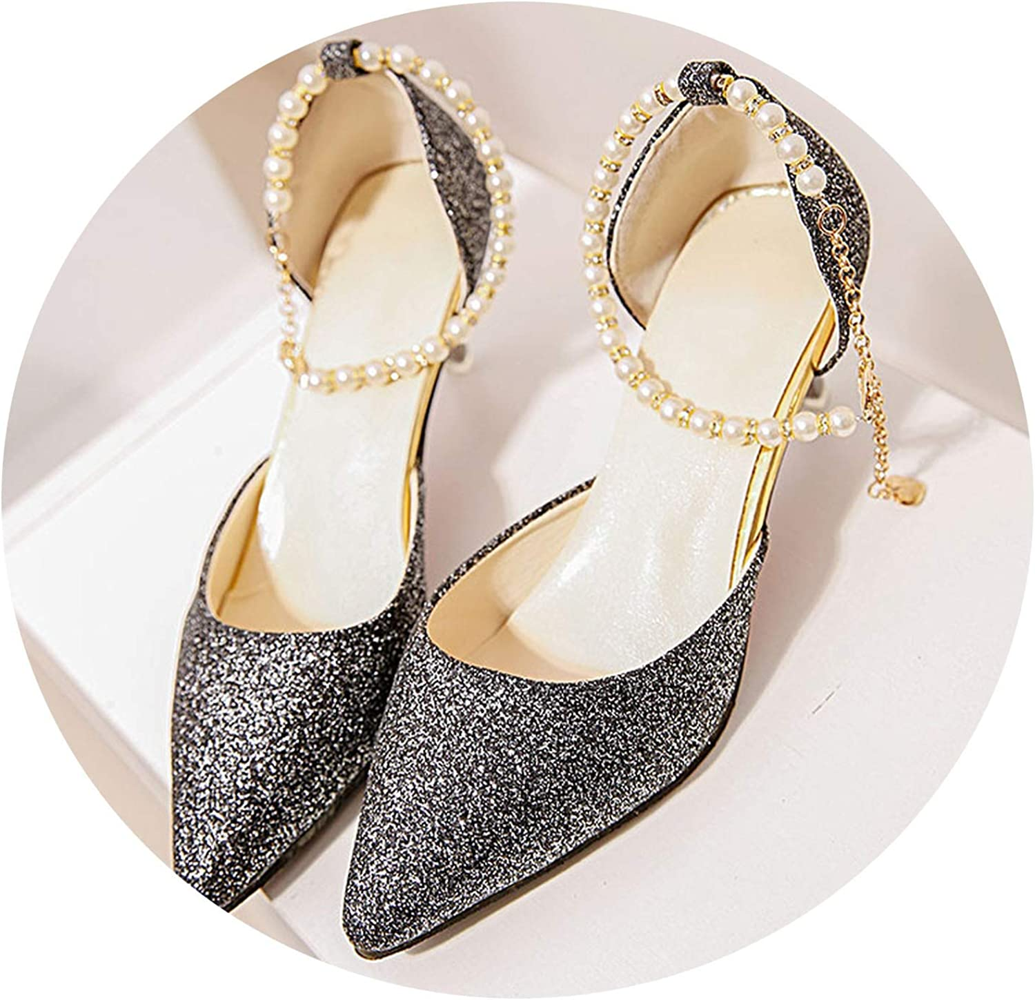 Fragrancety Women Spring Pearl Buckle Strap High Heels Pumps Pointed Toe String Bead Chain shoes Sexy Footwear