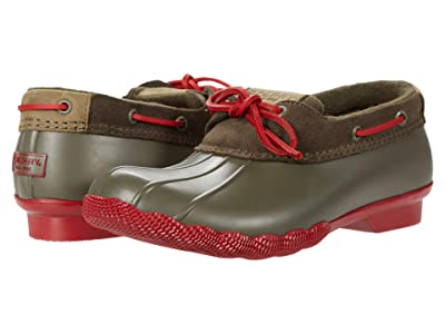 Sperry Saltwater 1-Eye Corduroy (Green/Red) Women