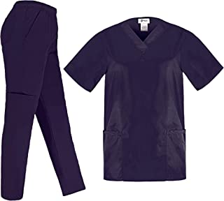 PERLLI Scrubs for Women 5 Pockets Medical Scrub Set with V-Neck Scrub Top & Comfortable Cargo Pants