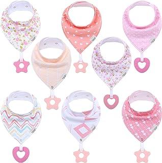 Teething Bibs for Baby Girl - 8 Pack Bandana Drool Bibs for Baby Girl - Teether Toys for Babies Drooling (Girly Pink) NJ B...