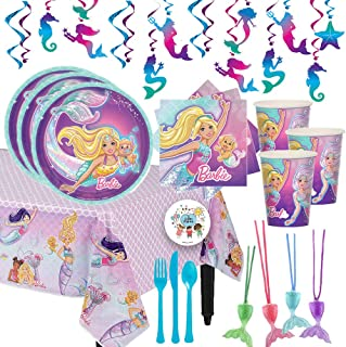 Our Deluxe Mermaid Barbie Birthday Party Supplies Pack For 12 Guests With Dessert Plates and Napkins, Tablecover, Cutlery, Cups, 12 Mermaid Tail Necklaces, Mermaid Swirl Decorations, and Exclusive Pin