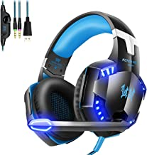 G2000 Gaming Headset, Noise Canceling Headphones with Mic,LED Light and Soft Memory Earmuffs,7.1 Surround Sound Stereo Gaming Headset for PC, Laptop, PS4, Xbox One Controller and Nintendo Switch