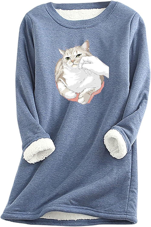 Women's Vintage Crewneck Loungewear Nightgowns Long Sleeve Cute Cat Print Sleepwear Nightdress Fall Fleece Dresses