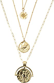 Gold Plated Coin Pendant Necklace Layering Set - 16, 18, 20 inches Long Ancient Roman Coin Replica Necklaces by Miller Mae Designs