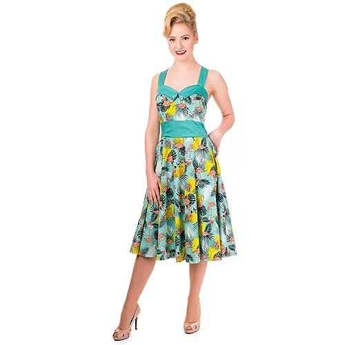 48425ca04dd0 Banned Wanderlust Flamingo Vintage 1950s Pin Up Halter Dress