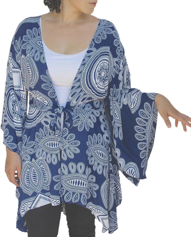 Fashion Fulfillment Plus Size Tunic Cardigan, bluee Kimono Sleeve Style, Womens Plus Sizes for Full Figures
