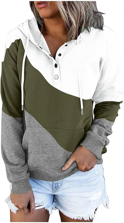 Qunkii Sweatshirt for Women,Womens Hooded Sweatshirt Casual Color Block Long Sleeve Tops Drawstring Hoodie Pullover