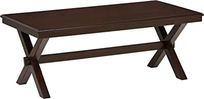 "Amazon Brand – Ravenna Home Flush Mount Wood Cross Coffee Table, 23.6""W, Dark Brown Walnut"