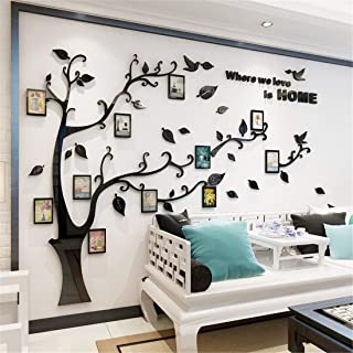 Unitendo 3D Acrylic Black Tree Wall Stickers Photo Frames Family Tree Wall Decal Easy to Install &Apply DIY Photo Gallery Frame Decor Sticker Home Art Decor (Black Leaves-Left, L)