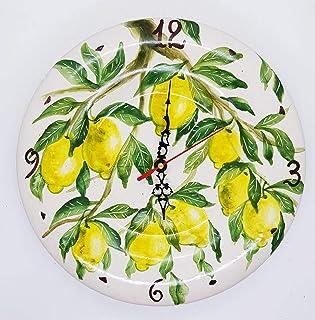 Orologio da muro Limoni Ceramica Cucina Linea Frutti Misti Realizzato e Dipinto a mano Le Ceramiche del Castello Made in I...