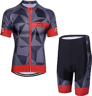 KEMALOCE Men's Cycling Jersey Set Bicycle Short Sleeve Set Quick-Dry Breathable Shirt+3D Cushion Shorts