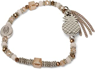 Qixuan Femmes Plaqu/é Or Argent Ananas Forme Boucles doreilles Collier Bracelet Ensemble de Bijoux