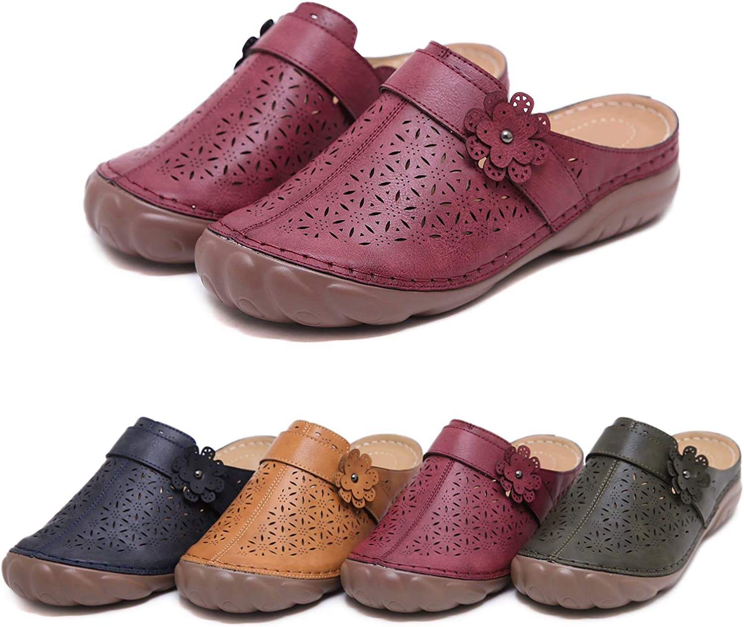 Solacozy Clogs Shoes for Women, Slip on Mules Casual Summer Slippers Handmade Clogs and Mules Soft Beach Sandals Ladies Flowers Summer Shoes
