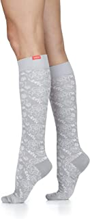 VIM & VIGR Women's 15-20 mmHg Compression Socks: Juliet Floral - Grey & Cream (Cotton) (Large)