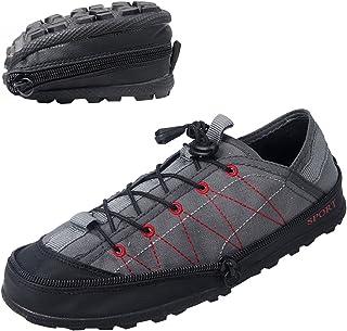 VECJUNIA Mens Foldable Shoes Breathable Purse Shoes Soft Casual Lace Up Espadrilles