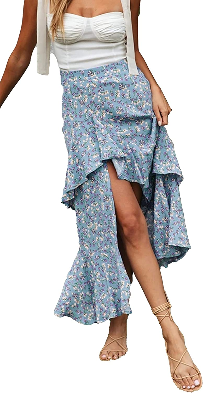 BTFBM Women Boho Floral Print Long Skirt Dress Chic High Low Side Split Ruffle Hem Elastic Waist Swing Maxi Dresses