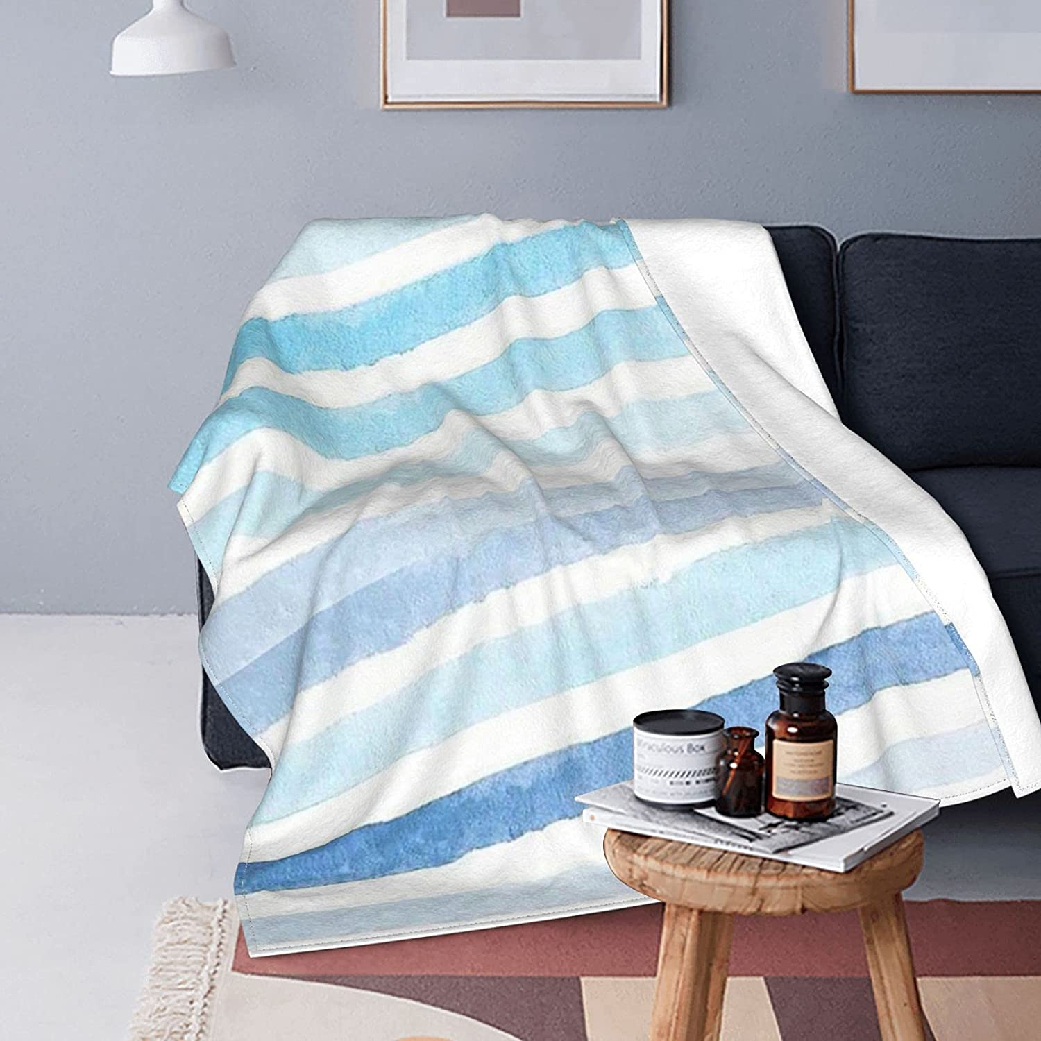 YAMADEI Super Soft Flannel Blanket Comfortable Blue Stripes Sale Special Price 5% OFF and
