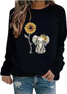kangmoon womens casual sunflower print long sleeve tops shirts crewneck pullover sweatshirts loose blouses