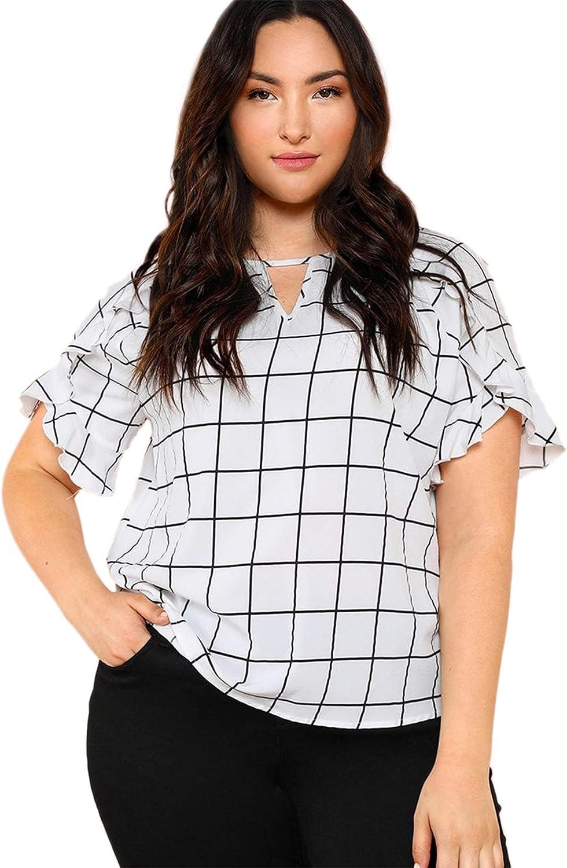 Milumia Women's Plus Size Petal Sleeve Keyhole Plaid Blouse Shirt Top