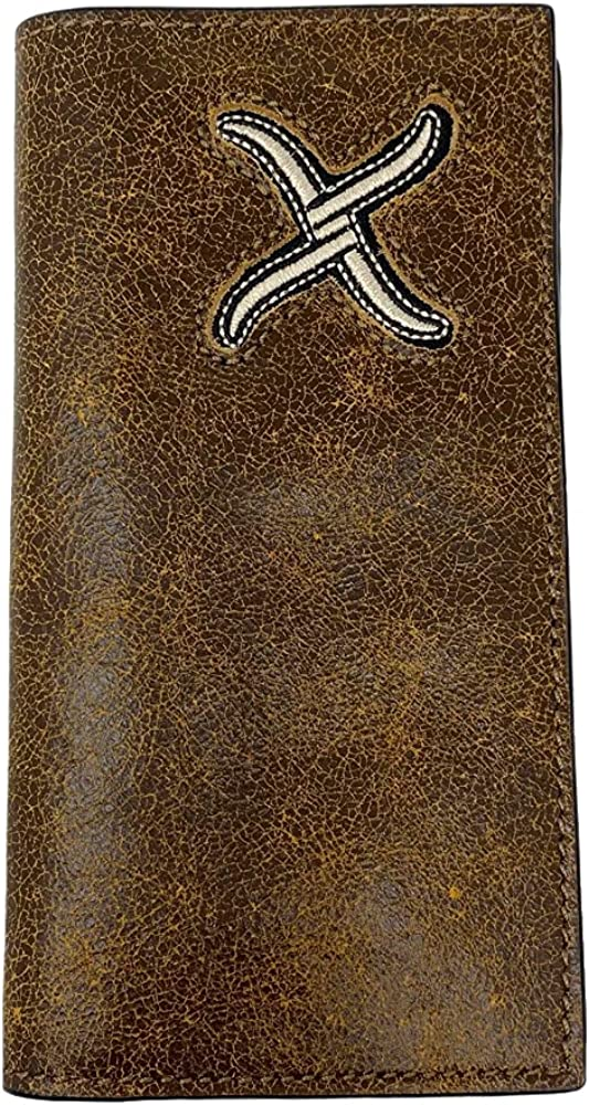 Twisted X Distressed Leather Wallet with Cream X