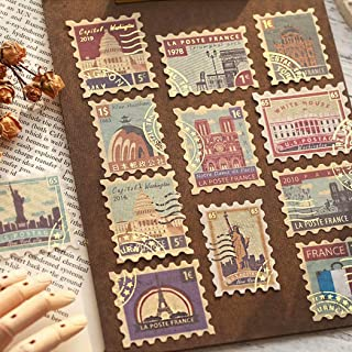 JOMOYEEH 80Pcs Vintage Post Stamps Decorative Stickers for Scrapbook Envelopes Journal Diary Planner(City+Ticket)