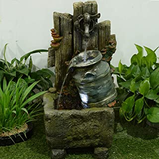 MILK CAN AND POURING TAP FOUNTAIN W/ 2 LEDs