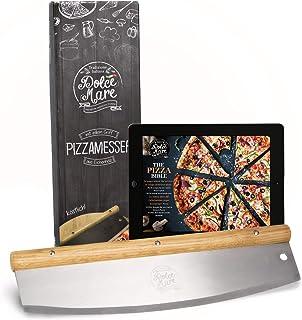 DOLCE MARE Pizzaschneider - Vielseitig einsetzbares Wiegemesser mit edlem Griff aus Eichenholz - Pizzamesser mit extra scharfer Edelstahlklinge - Inklusive Klingenschutz & Anleitung