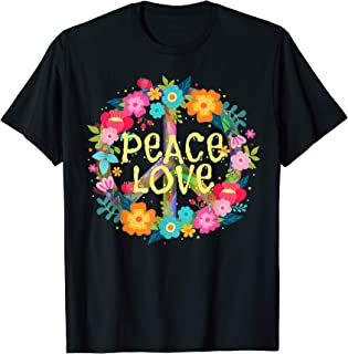 Peace Love T-Shirt Hippie Costume Tie Die 60s 70s