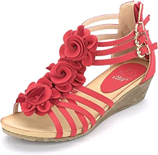 Alexis Leroy Women's Summer T-Straps Buckle Design Fashion Wedge Heel Sandals