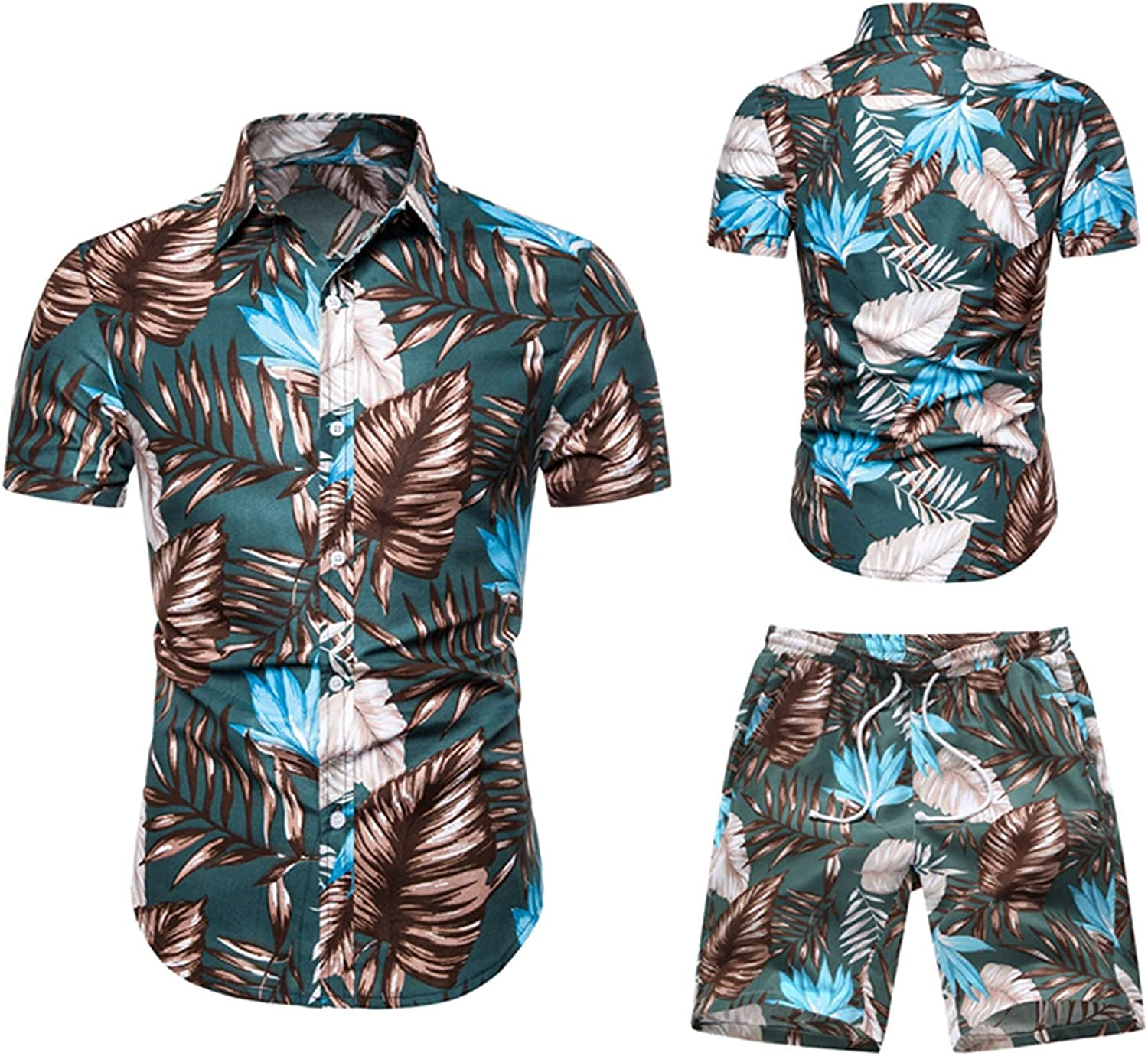 FUNEY Summer Outfits for Men Casual Button Down Short Sleeve Hawaiian Shirt and Drawstring Cargo Shorts Suits Tracksuit