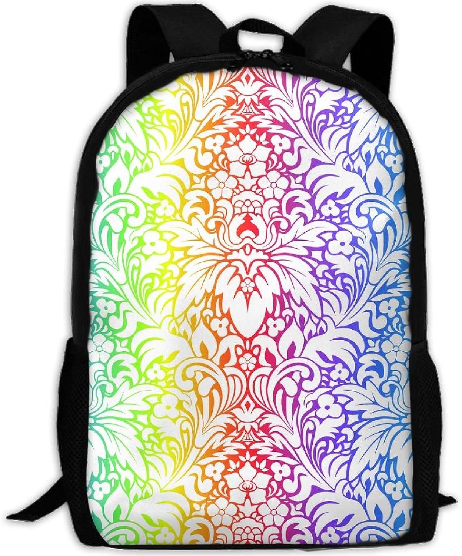 Backpack Laptop Travel Hiking School Bags Rainbow Floral Daypack Shoulder Bag