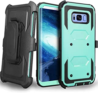 Samsung Galaxy S8 Plus case, J.west Galaxy S8 Plus Case, Heavy Duty Protection Kickstand Clip Holster Shockproof Case Cover for Samsung Galaxy S8 Plus 6.2 inch WITHOUT Built-in Screen Protector (Mint)