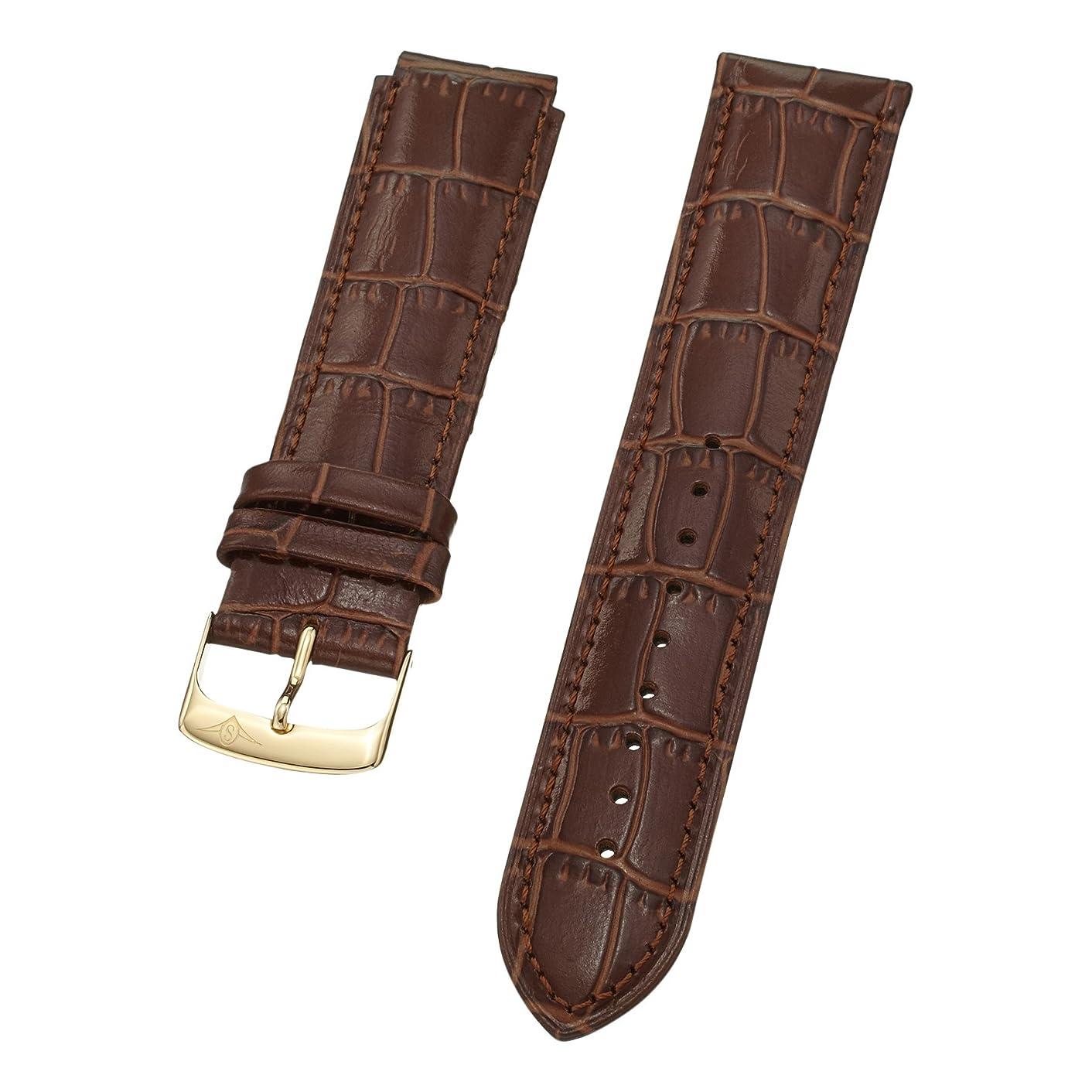 Stuhrling Original mens 22mm on 6 side 18mm on 12 side light brown leather strap with gold tone buckle st.165E.3335K31