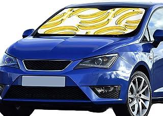 Parasol plegable para automóviles Amarillo Delicioso Bandeja de cartón Banana Sombrilla plegable para máxima resistencia a