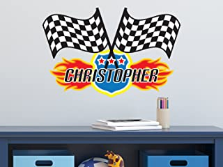 Race Flags with Custom Name Fabric Wall Decal - NASCAR Inspired Racing Name Wall Sticker - Standard - Reusable, Repositionable