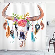 Ambesonne Watercolor Shower Curtain, Bull Skull with Hanging Flower Feathers Inspired Design, Cloth Fabric Bathroom Decor Set with Hooks, 70