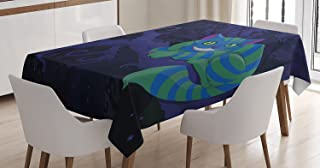 Ambesonne Alice in Wonderland Decorations Tablecloth, Chester Cat Sitting on Branch in Fairy Forest Character Alice, Rectangular Table Cover for Dining Room Kitchen, 52x70 Inches, Green Blue Purple