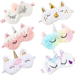 ZeeDix 6 Pack Cute Soft Plush Unicorn Sleeping Mask- Weighted Unicorn Horn Night Blindfold Bed Eye Covers Sleep Mask for W...