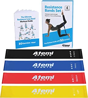Atemi Sports Resistance Bands | Exercise Bands Set Of 4 Mini Resistance Loops Plus 50-Exercise Workout Booklet | Quality L...