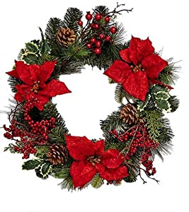 """Worth Imports 18"""" Spruce Poinsettia Berry Wreath"""