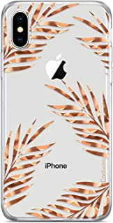 Coolwee Floral Case for iPhone X,iPhone Xs Rose Gold Clear Thin Shiny Glitter Women Girls Slim Cute Tropical Design Hard Plastic Back Soft TPU Bumper Protective Cover for Apple iPhone Xs 10S 5.8 inch