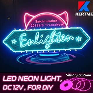 KERTME DC12V Silicon Neon Led Light Strip, Safety, Super-Bright, Flexible & Waterproof Rope Light for Advertising Signboard, Brand Logo, Home Shop DIY Design Decor (6x12mm, 16.4ft/5m, Pink)
